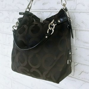 AUTHENTIC BROWN OP ART SIGNATURE COACH HOBO EUC!